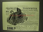 1893 Franklin Typewriter Ad - Half As Many Parts