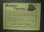 1893 Remington Typewriter Ad