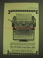 1893 Columbia Bar-Lock Typewriter Ad - Does This