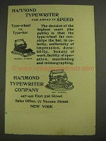 1893 Hammond Universal and Ideal Keyboard Typewriter Ad