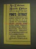 1893 Pond's Extract Ad - An Efficient Health Officer