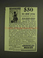 1893 Chocolat Menier Ad - $50 to Aid You