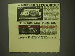 1893 Sipmlex Typewriter and Printer Ad