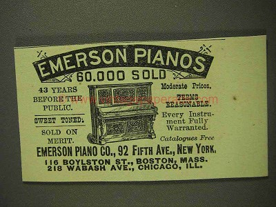 1893 Emerson Pianos Ad - 60,000 sold