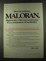 1973 CIBA-GEIGY Maloran Ad - New For Soybeans