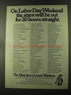 1973 Jerry Lewis Telethon Ad - Stars Out for 20 Hours