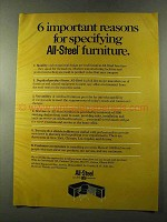 1973 All-Steel Furniture Ad - 6 Important Reasons