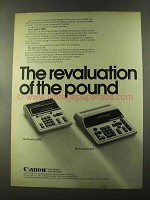 1973 Canon Canola L100S and L121F Calculator Ad