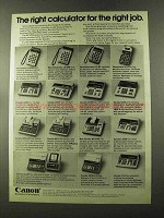 1973 Canon Calculator Ad - LE-80M LE-80R L810 MP142R