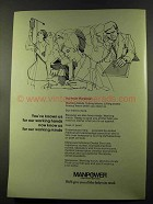 1973 Manpower Temporary Services Ad - Working Minds
