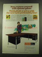 1973 Lyon Office Furniture Ad - Options Galore