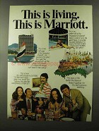 1973 Marriott Hotels Ad - This is Living