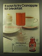 1973 Ocean Spray Cranapple Juice Ad - Try for Breakfast