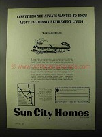 1973 Sun City Homes Ad - California Retirement Living
