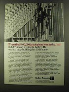 1973 United Telecom Ad - 2,500,000th Telephone