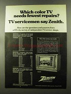 1973 Zenith TV Ad - Needs Fewest Repairs?