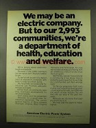 1973 American Electric Power System Ad - Communities