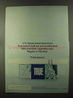 1973 True Filter Cigarettes Ad - U.S. Government Tests