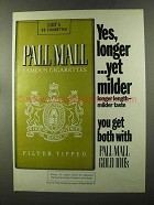 1973 Pall Mall Cigarettes Ad - Yes, Longer