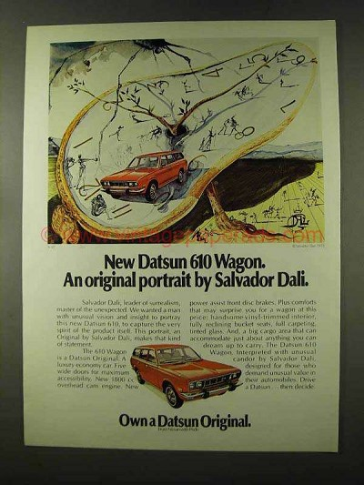 1973 Datsun 610 Wagon Ad - Portrait by Salvador Dali