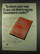 1973 Travelers Insurance Ad - Cut Down on Costs