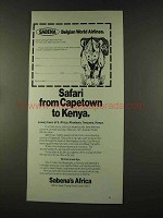 1973 Sabena Airlines Ad - Safari to Kenya