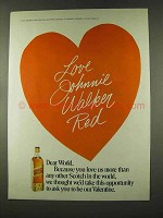 1973 Johnnie Walker Red Scotch Ad - Be Our Valentine