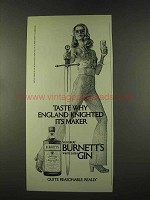 1973 Burnett's Gin Ad - England Knighted Its Maker