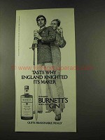 1973 Burnett's Gin Ad - England Knighted
