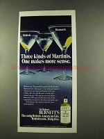 1973 Burnett's Gin Ad - Three Kinds of Martinis