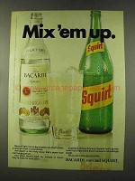 1973 Bacardi Rum and Squirt Soda Ad - Mix 'em Up