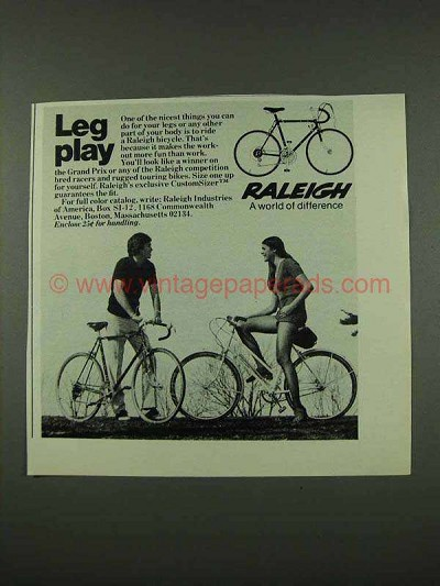 1973 Raleigh Grand Prix Bicycle Ad - Leg Play