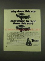 1973 Thrifty Rent-A-Car Ad - Cost More to Rent