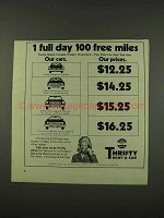 1973 Thrifty Rent-A-Car Ad - 1 Full Day 100 Free Miles