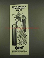 1973 Cricket Disposable Butane Lighter Ad - Surefire