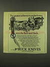 1973 Buck Knives Ad - The Greatest Advance