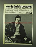 1973 HURRAH AD - How to Build a Taxpayer