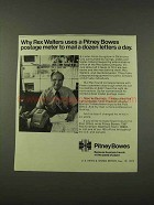 1973 Pitney Bowes Postage Meter Ad - Rex Walters Uses