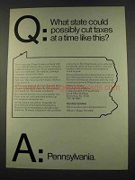 1974 Pennsylvania Commerce Ad - What State Cut Taxes
