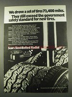 1974 Sears Steel-Belted Radial Tires Ad - Exceed Safety