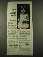1974 Christian Children's Fund Ad - Can Sponsor