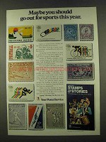 1974 U.S. Postal Service Ad - Go Out for Sports