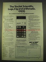 1974 Sinclair Scientific Calculator Ad - Logs, Trig