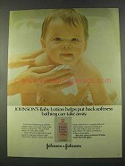 1974 Johnson's Baby Lotion Ad - Put Back Softness