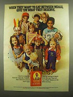 1974 Sun-Maid Raisins Ad - Want to Eat Between Meals