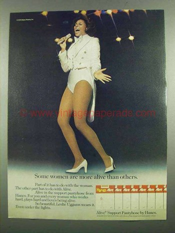1974 Hanes Alive Support Pantyhose Ad - Leslie Uggams