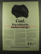 1974 American Electric Power Ad - Coal is Critical