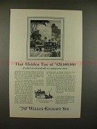 1927 Willys Knight 70 Six Car Ad - That Hidden Tax!!