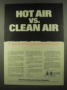 1974 American Electric Power Ad - Hot Air vs. Clean Air