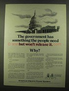 1974 American Electric Power Ad - The Government Has
